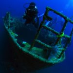 Diver at sunken ship dive site in Bali