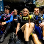 Scuba divers heading out for dive in Tulamben Bali